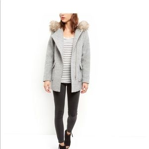 ASOS Grey Wool Duffle Coat with Fur Lined Hood